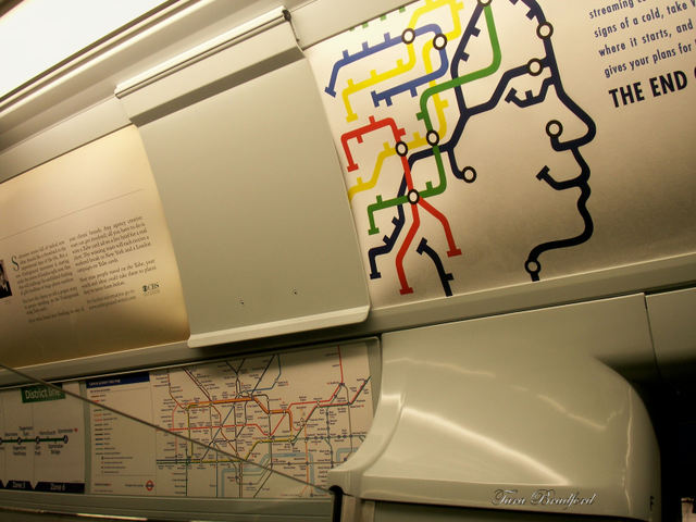 London Underground mimics the design of the tube map, pictured at left.